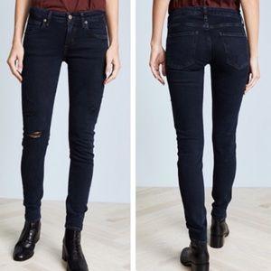 Agolde Dark Wash Distressed Skinny Jeans 29